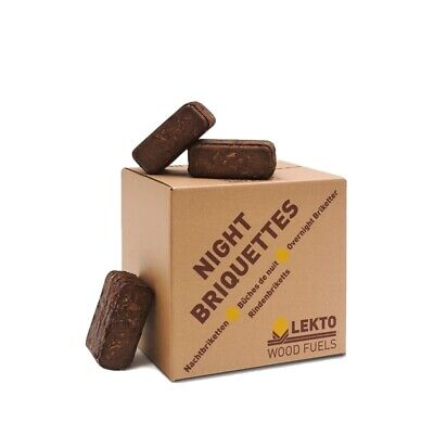 Lekto Woodfuels Night Briquettes   Up to 8 Hour Burn   Compressed Wood Fire from