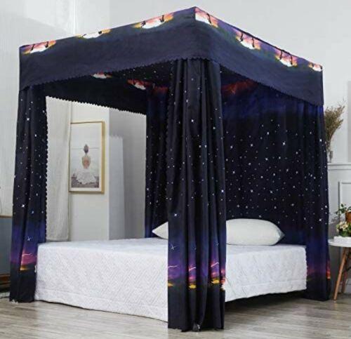 Mengersi Galaxy Star Four Corner Post Bed Curtain Canopy