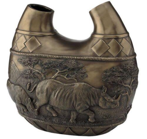 "11"" Safari Rhinos Double Vase Rhinoceros Wildlife Animal Statue Sculpture"