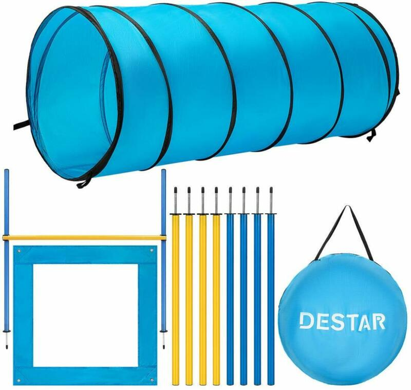 DEStar Dog Agility Equipment Pet Obstacle Training Course Kits /W Carry Bag