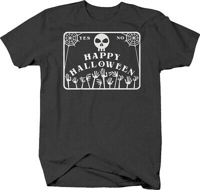 Happy Halloween oujia board yes or no skull skeleton T-shirt (Happy Halloween Skull)