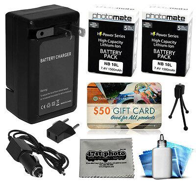 2 Pcs NB10L NB-10L Battery + Charger for Canon Powershot SX40 SX50 SX60 HS
