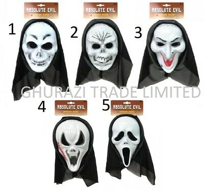 Scary Scream Ghost Horror Mask with Hooded Halloween Cosplay Props Scary Mask ()