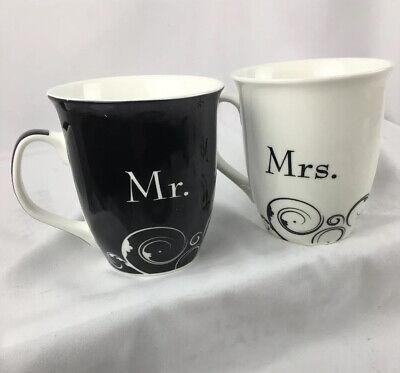 Mr & Mrs Ceramic Coffee Mug Set Black & White Wedding Tea Cups Common Grounds