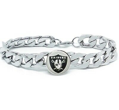 Las Vegas Raiders Silver Mens Curb Link Chain Bracelet Football w Gift Pk D4