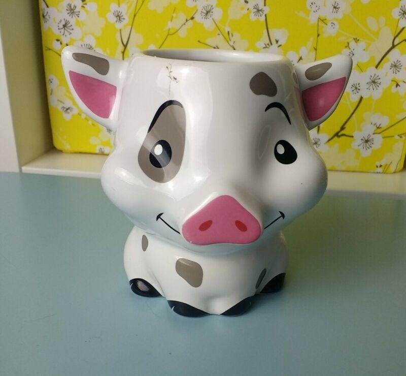 Disney Store Moana Pua Pig 3D Figural Mug Coffee Cup Ceramic White *Flaw 3D Walt