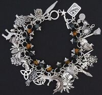 Pagan Wicca Charm Bracelet - Fully Loaded 32 Charms Kamba Jasper Tigers Eye - sanguine rose designs - ebay.co.uk