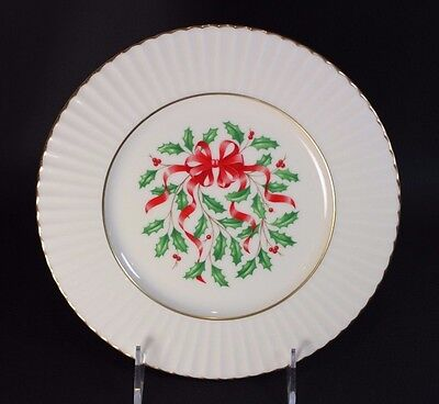 "Lenox Holiday Ribbon (Lenox Temple - HOLIDAY Red Ribbon Accent - 8 1/2"" Salad Plate)"