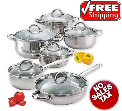 Induction Cookware Set 12 Piece Stainless Steel Cooktop Ready Pot Pan Lids RV