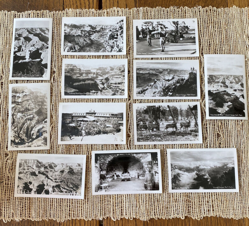 Vintage Grand Canyon National Park Travel B&W mini Photos souvenir Lot Of 12