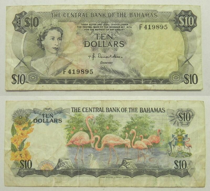 1974 Central Bank of the Bahamas $10 Ten Dollars Note F419895 P-38a Donaldson