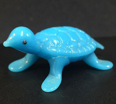 Miniature GLASS Figurine Blue Turtle Animal Small Opaque Art Blown Glass Vintage