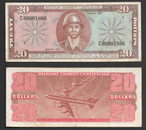 """$20 SERIES 681 MILITARY PAYMENT CERTIFICATE """"REPLACEMENT NOTE"""" CHOICE MID GRADE"""