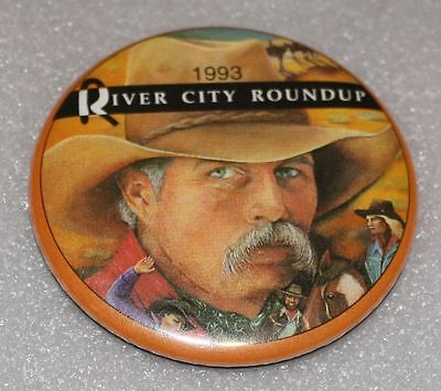1993 RIVER CITY ROUNDUP Omaha RODEO Moustached Cowboy Horses PIN Pinback 1993