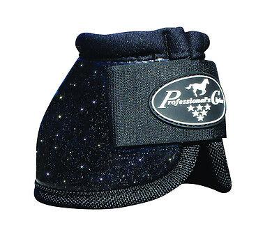 Black GLITTER Medium Professionals Choice Horse Over-Reach Bell Boots