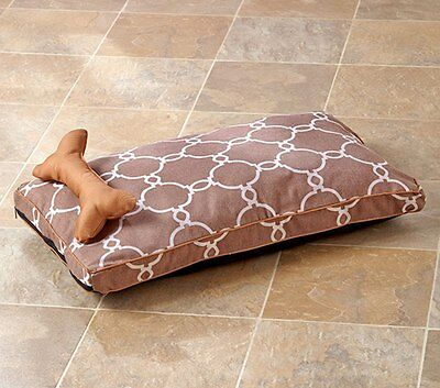 New Medium Bown & Tan Printed Pet Dog Bed and Pillow Set Lounger 29.5 x 17 x 3""