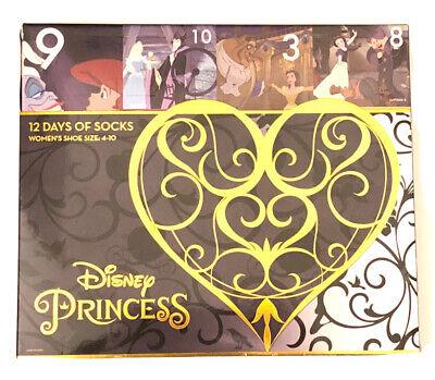 NEW Women's Disney Princess 12 Days Of Socks Christmas Advent Calendar Size 4-10