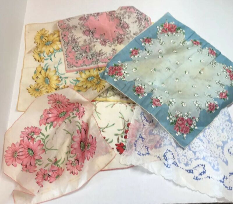 Vintage 7 Item Lot Floral Paisley Ladies Embroidered Edge Handkerchiefs