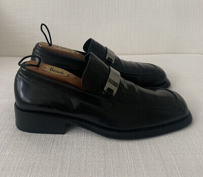 Gucci Vintage Mens Leather Black Slip on Loafers Size 7.5 UK USED Gently Worn