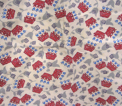 Vtg Feed Sack Material Red Pots of Blue Tulips Blk Geometrics