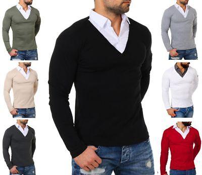 Slim Fit Herren-pullover (Rerock Herren double Look Longsleeve-Hemd Shirt Pullover slimfit 2in1 Optik )