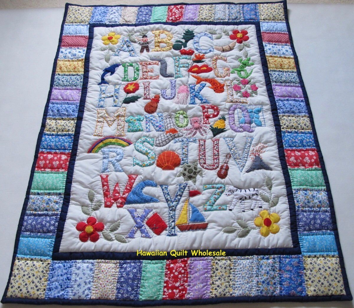 Hawaiian style ABC quilt baby crib blanket hand quilted wall hanging MULTI