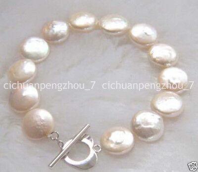 Natural 12mm Freshwater Akoya White Coin Pearl Bracelet Bangle 7.5