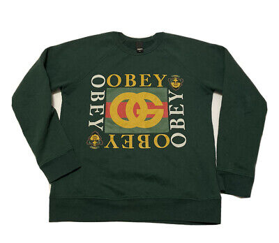 "Vintage OBEY ""Gucci"" Crewneck Sweatshirt Men's Small Green Made in USA"
