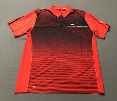 Nike Tiger Woods Collection Dri-Fit Golf Shirt Polo (M, Red, Striped)(A6)