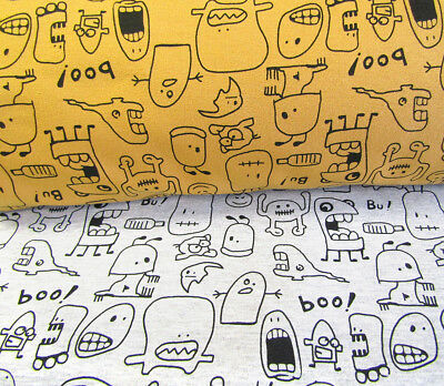 - MONSTERS print Mustard Grey Printed Stretch Jersey Knit Sweatshirt Cotton Hoodie