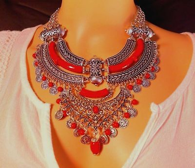 BEAUTIFUL BOHEMIAN STYLE RED CHUNKY CHOKER SILVER NECKLACE FASHION JEWELRY