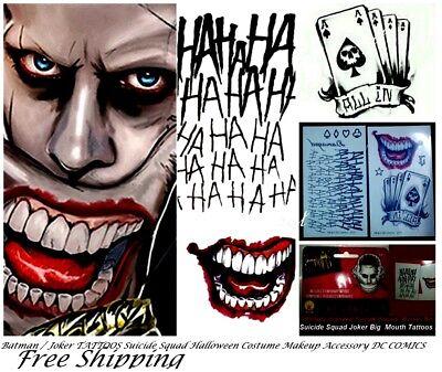 Suicide Squad Joker Costume Tattoo Kit  Makeup Halloween Accessory DC COMIC 10pc - Suicide Squad Joker Costume Halloween