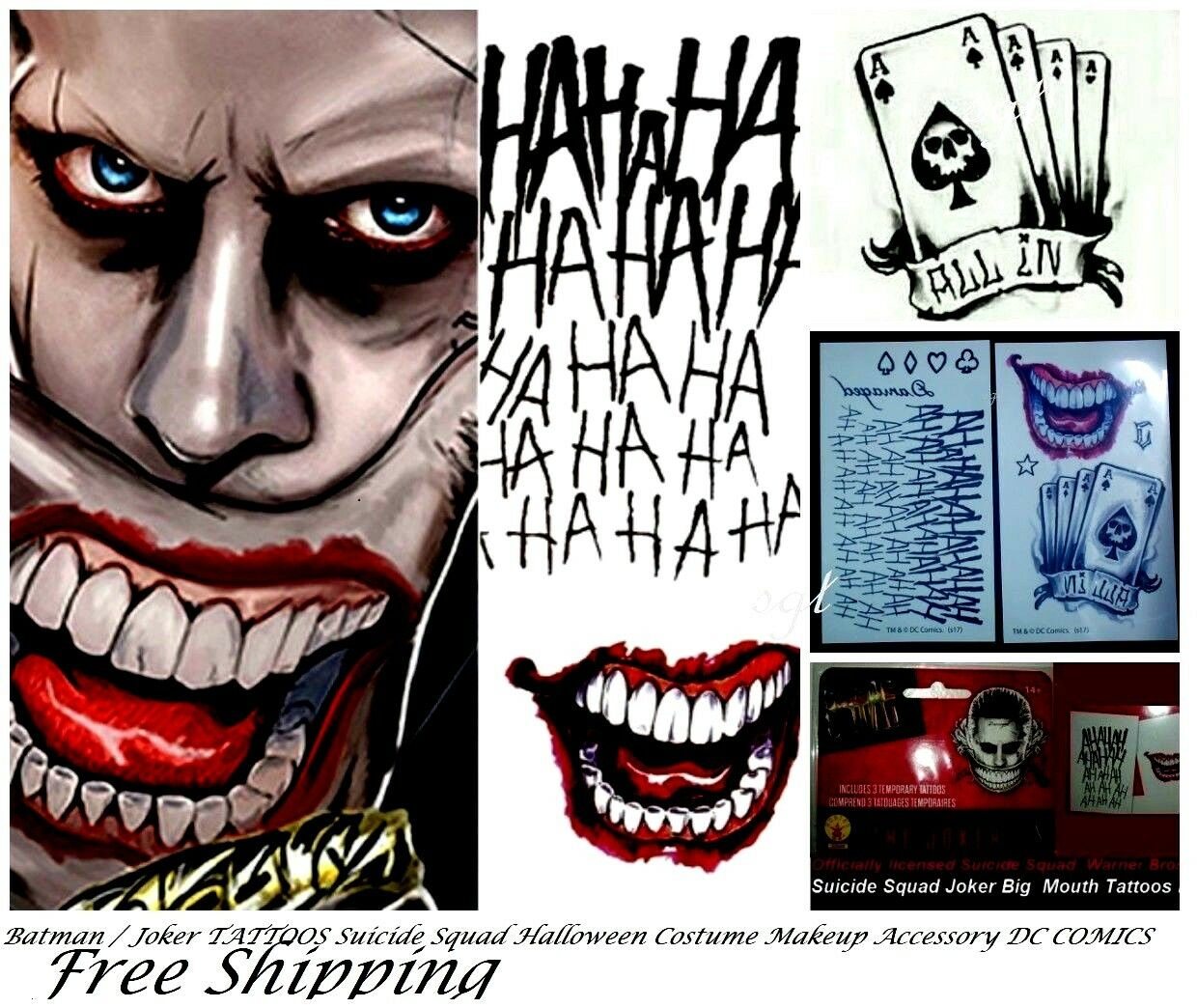Suicide Squad Joker Batman Costume Tattoo Kit Makeup Halloween