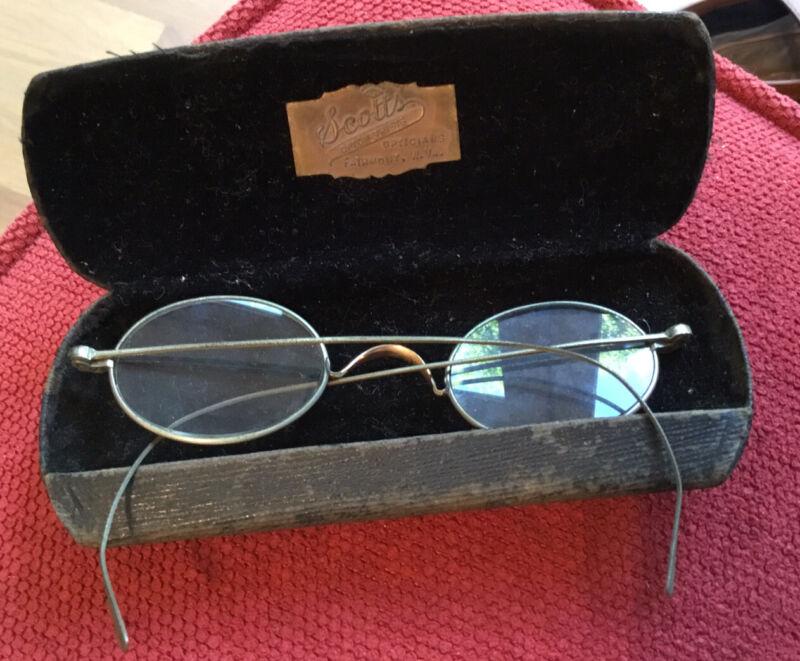 Antique Reading Glasses, Metal Rim, Hawk, Oval