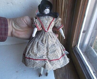 ANTIQUE 1880 DOLL WITH ORIGINAL CHINA HEAD, ARMS & LEGS RESTORED BODY WITH DRESS