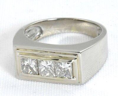 14K White Gold 3 Stone Classic 2.00CT Princess Cut Channel Diamond Ring SZ 9.75