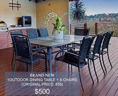 Brand new glass outdoor dinning table + eight chairs