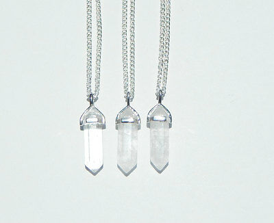 Clear Quartz Crystal Point Pendant Gemstone Natural Stone Chakra Necklace