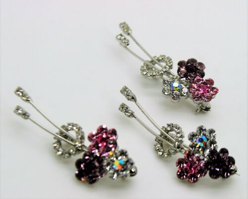 3 pc gorgeous corsage bouquet style mix color Crystal fashion Brooch Pin lot 275