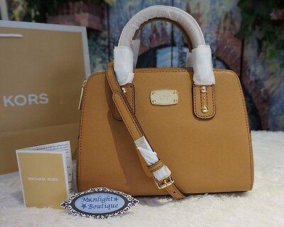 NWT MICHAEL KORS SAFFIANO SMALL Satchel Crossbody Leather Handbag In ACORN $268