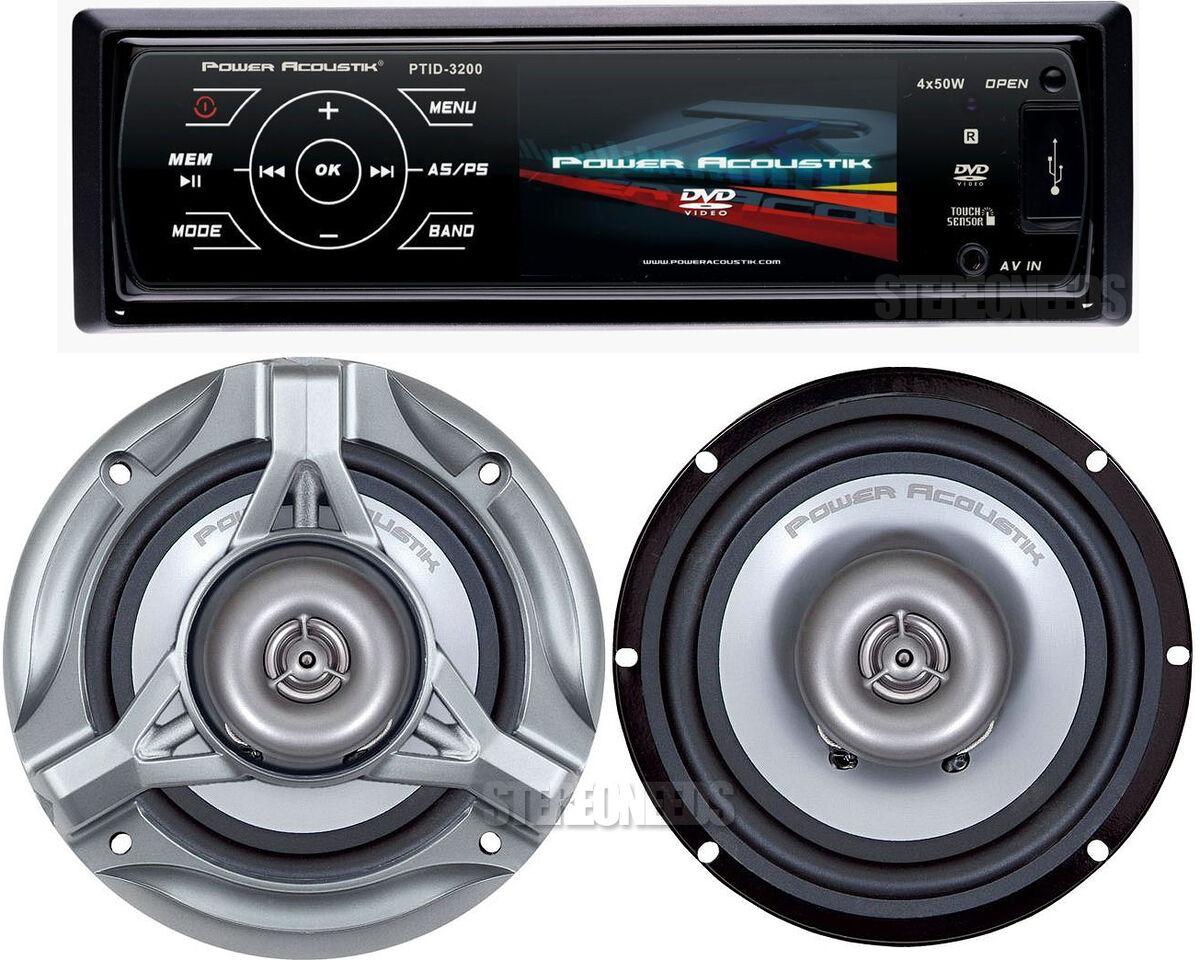 "Power Acoustik Car 1 DIN 3 2"" Touchscreen Monitor DVD CD USB Player 6 5 Speakers"