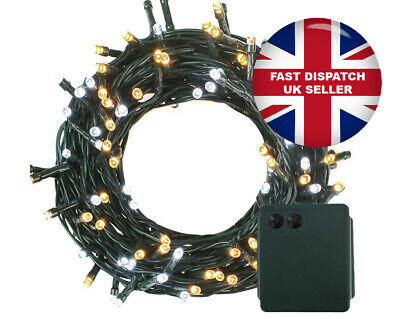 200 LED Battery Powered Green Cable Fairy Lights Xmas Dual Colour 8...