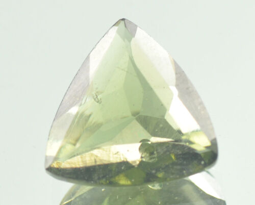 2.6cts triangle trill MOLDAVITE FACETED CUTTED GEM 11.2x11.4mm #BRUS390