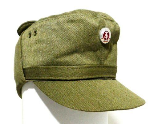 GENUINE EAST GERMAN VINT NVA ARMY OLIVE/KHAKI WINTER FIELD CAP, COTTON/POLYESTER