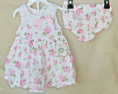 LITTLE ME 2 pc White Floral Pink Ditzy WOVEN DRESS with PANTY NWT