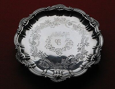 Edwardian Solid Silver Salver William IV Style 8 inches Sheffield 1902