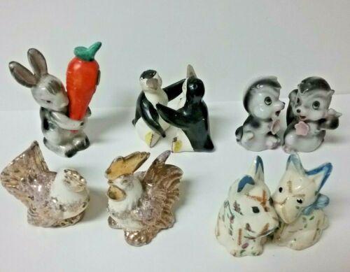 Vintage lot 5-pair salt pepper shakers Rabbit Carrot Skunk Dog Penguin Chicken