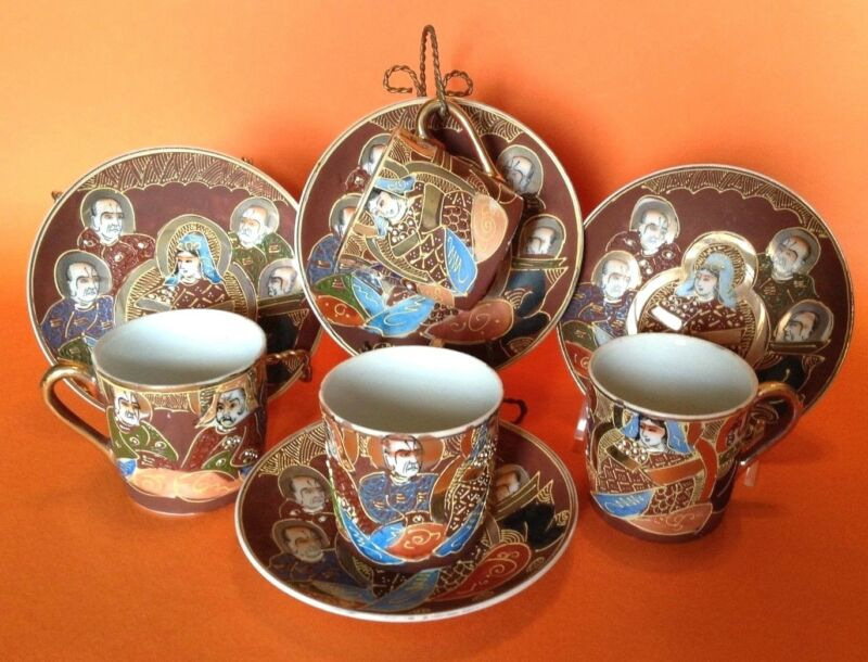 Satsuma 4 Demitasse Cups And Saucers - Hand Painted Immortals - Moriage - Japan