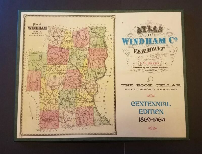 Atlas of Windham Co. Vermont F W Beers Centennial Edition 1869-1969 Boxed
