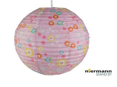 Papier Lampenschirm für Kinder mit BLÜMCHEN Lampion Papier Lampe Mädchenzimmer ()